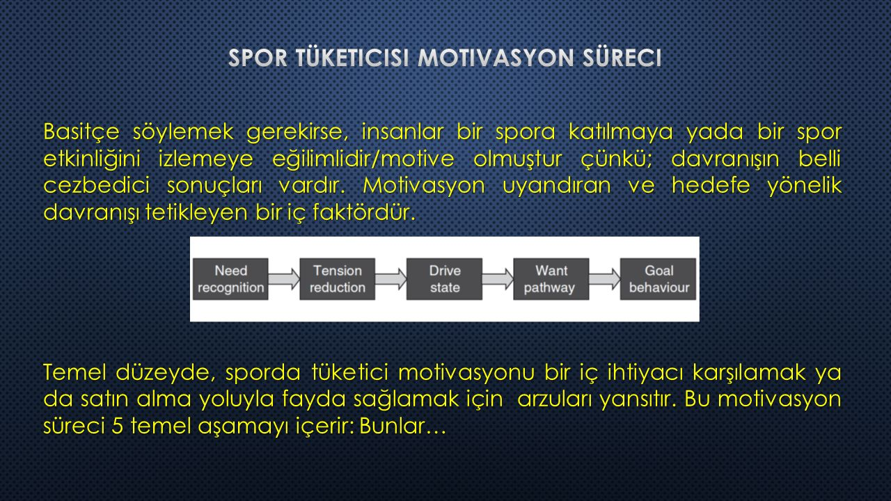 SportWay Motives in Consumer Behaviour Excitement: Heyecan entelektüel uyarım için bir istek temsil eder.