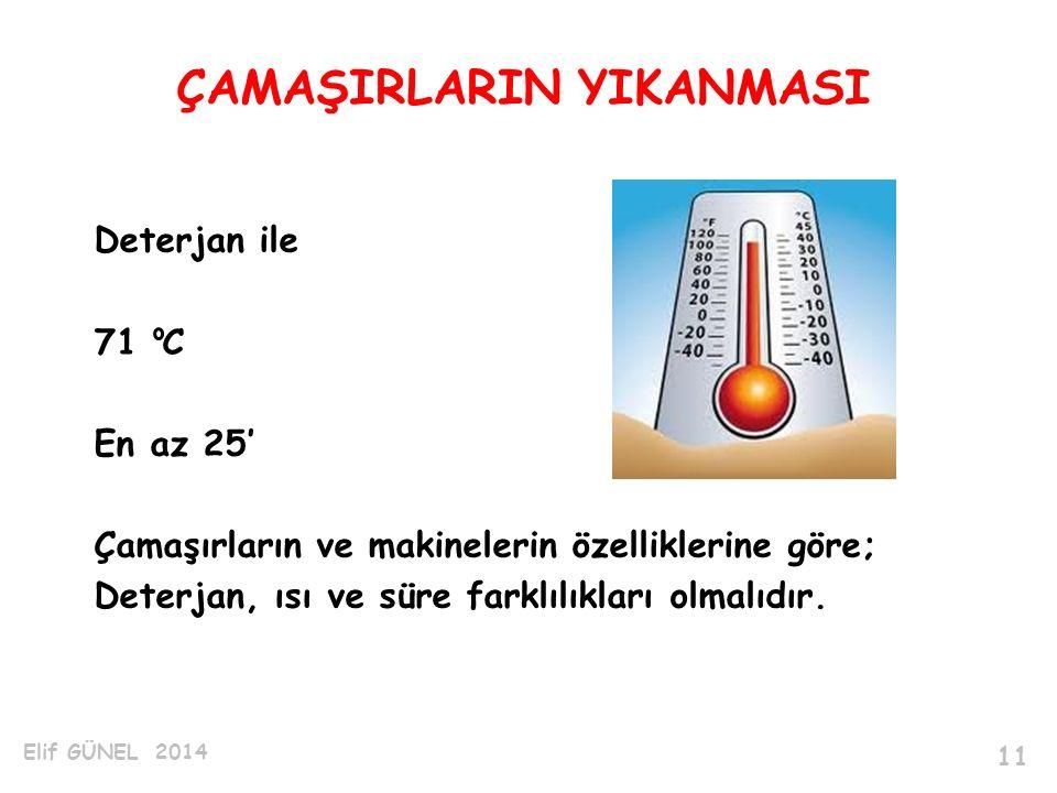 Deterjan ile 71 C En az 25' Çamaşırların ve makinelerin özelliklerine göre; Deterjan, ısı ve süre farklılıkları olmalıdır.