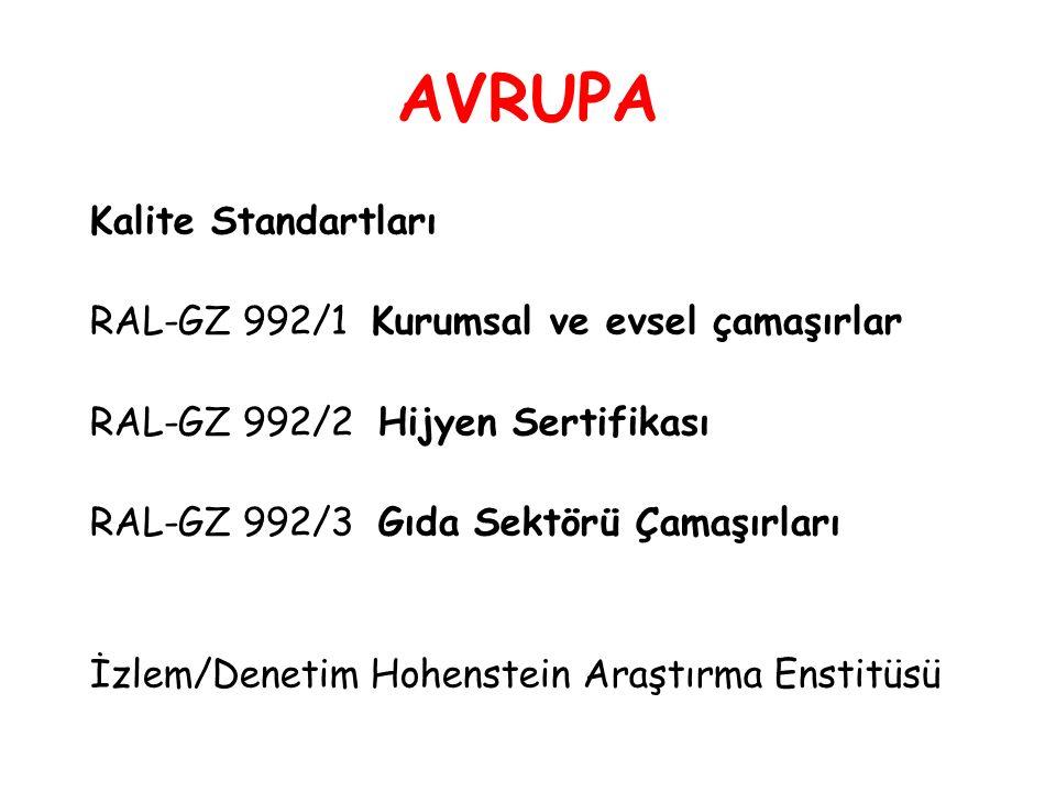 AVRUPA Kalite Standartları RAL-GZ 992/1 Kurumsal ve evsel çamaşırlar RAL-GZ 992/2 Hijyen Sertifikası RAL-GZ 992/3 Gıda Sektörü Çamaşırları İzlem/Denetim Hohenstein Araştırma Enstitüsü