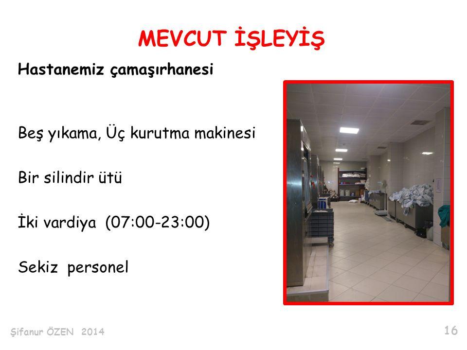 Hastanemiz çamaşırhanesi Beş yıkama, Üç kurutma makinesi Bir silindir ütü İki vardiya (07:00-23:00) Sekiz personel MEVCUT İŞLEYİŞ Şifanur ÖZEN 2014 16