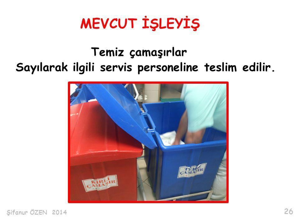 Temiz çamaşırlar Sayılarak ilgili servis personeline teslim edilir.
