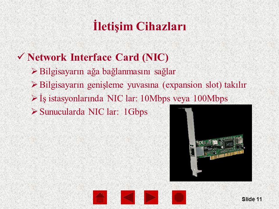 Slide 11 İletişim Cihazları Network Interface Card (NIC)  Bilgisayarın ağa bağlanmasını sağlar  Bilgisayarın genişleme yuvasına (expansion slot) takılır  İş istasyonlarında NIC lar: 10Mbps veya 100Mbps  Sunucularda NIC lar: 1Gbps