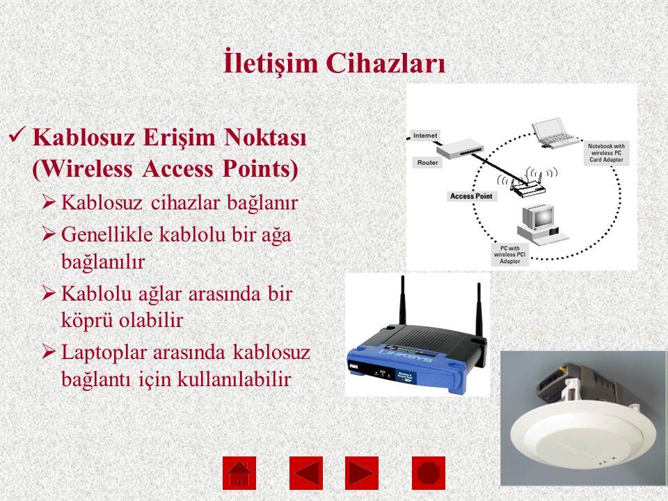 Slide 12 İletişim Cihazları Kablosuz Erişim Noktası (Wireless Access Points)  Kablosuz cihazlar bağlanır  Genellikle kablolu bir ağa bağlanılır  Kablolu ağlar arasında bir köprü olabilir  Laptoplar arasında kablosuz bağlantı için kullanılabilir