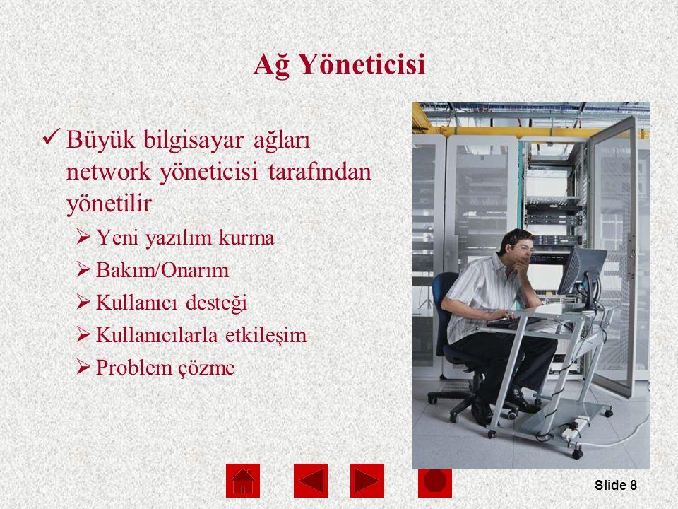 Slide 8 Ağ Yöneticisi Büyük bilgisayar ağları network yöneticisi tarafından yönetilir  Yeni yazılım kurma  Bakım/Onarım  Kullanıcı desteği  Kullanıcılarla etkileşim  Problem çözme