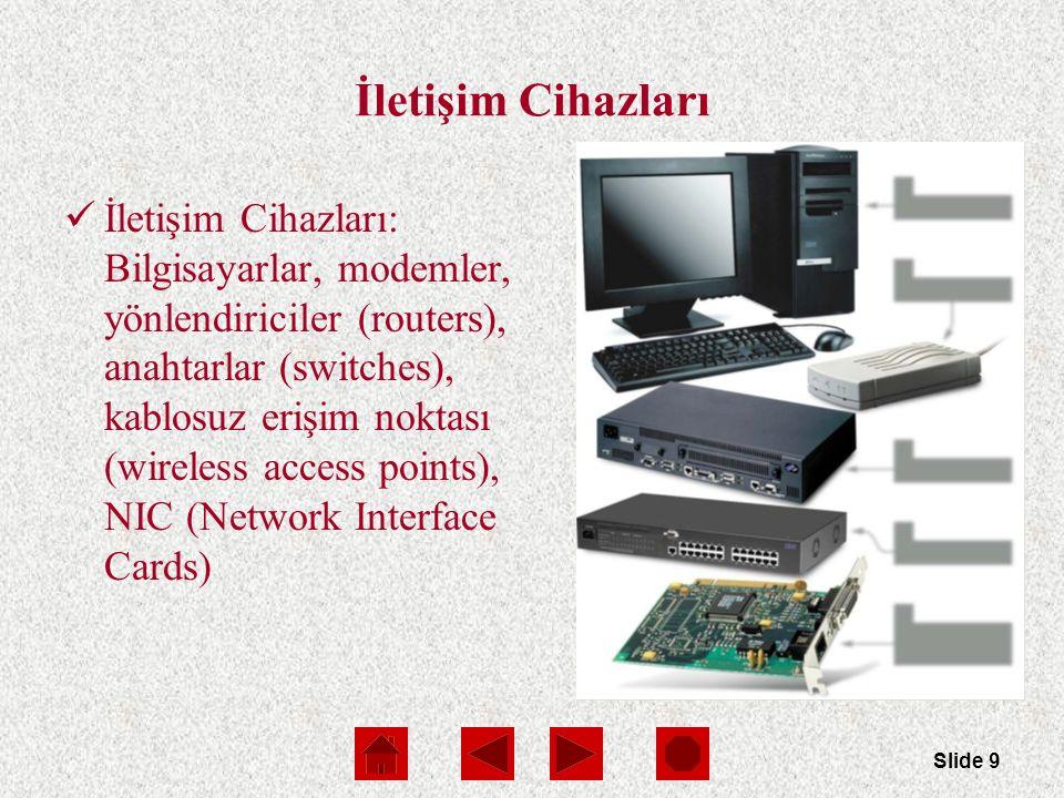 Slide 10 İletişim Cihazları Yönlendirici (Routers) iki veya daha fazla LAN veya WAN'ı birbirine bağlar  Verinin yönlendirileceği en iyi rotayı(hız açısından) belirler LAN lerde yönlendiricilere benzer anahtarlar da kullanılır