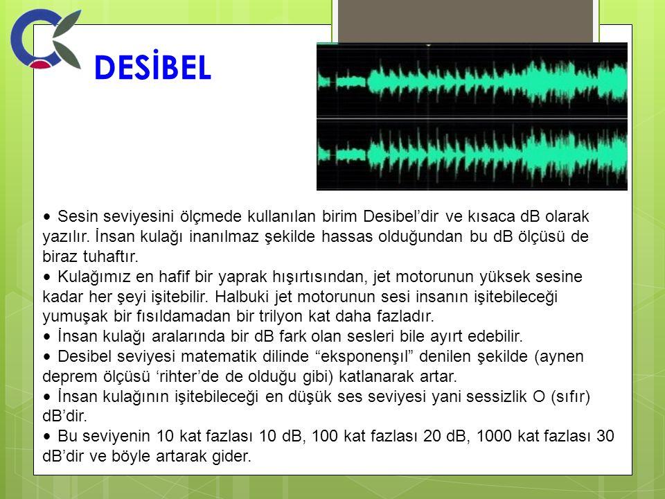 DESİBEL Sesin seviyesini ölçmede kullanılan birim Desibel'dir ve kısaca dB olarak yazılır. İnsan kulağı inanılmaz şekilde hassas olduğundan bu dB ölçü