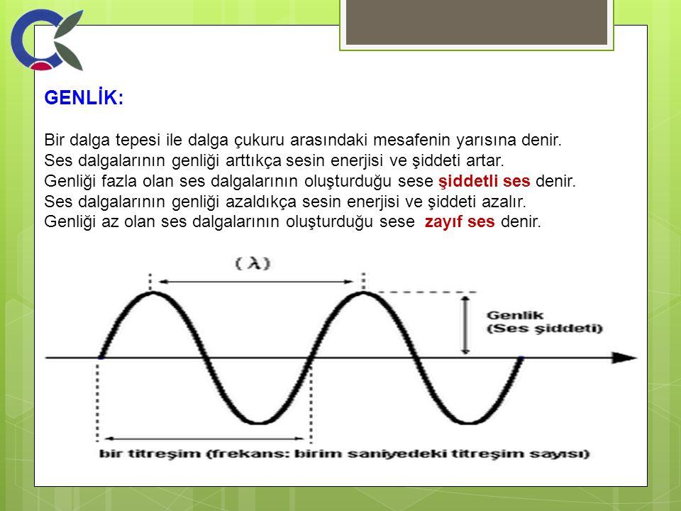 GENLİK: Bir dalga tepesi ile dalga çukuru arasındaki mesafenin yarısına denir. Ses dalgalarının genliği arttıkça sesin enerjisi ve şiddeti artar. Genl