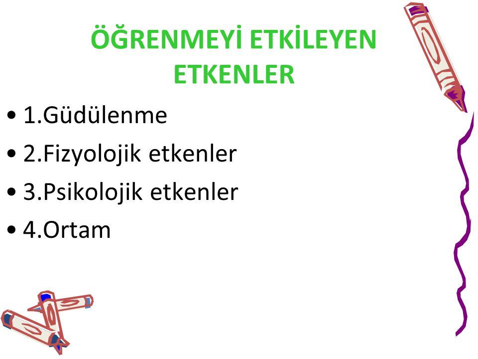 ÖĞRENMEYİ ETKİLEYEN ETKENLER 1.Güdülenme 2.Fizyolojik etkenler 3.Psikolojik etkenler 4.Ortam