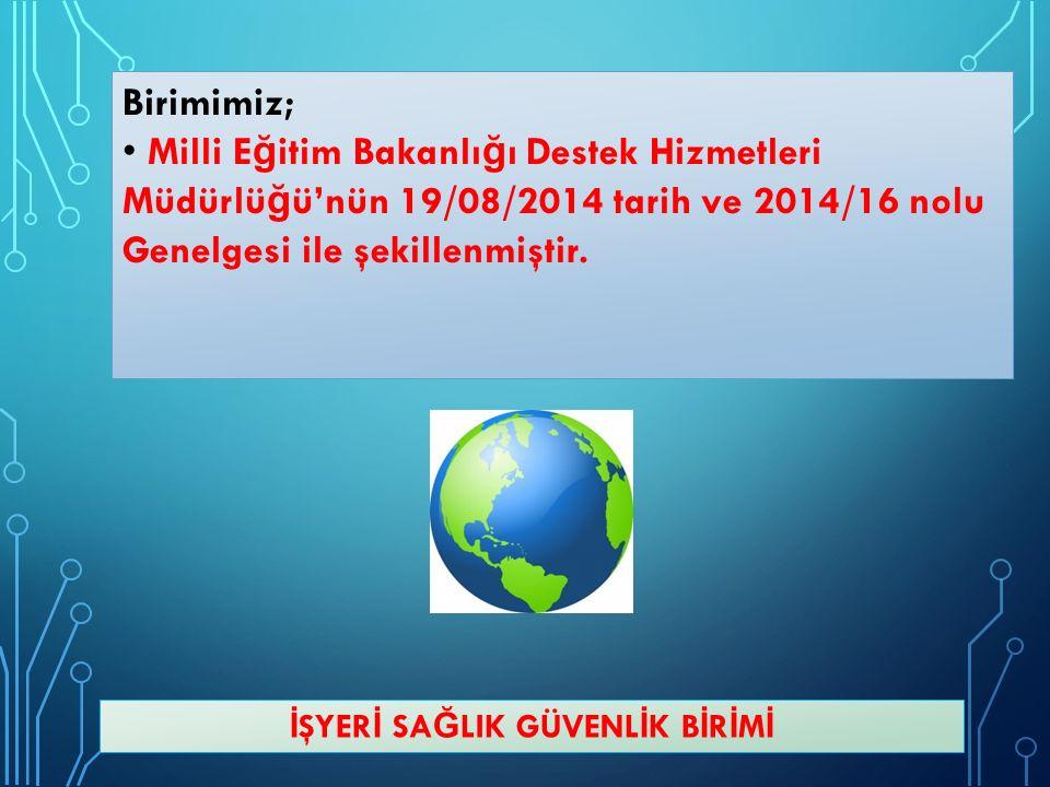 Birimimiz; Milli E ğ itim Bakanlı ğ ı Destek Hizmetleri Müdürlü ğ ü'nün 19/08/2014 tarih ve 2014/16 nolu Genelgesi ile şekillenmiştir.
