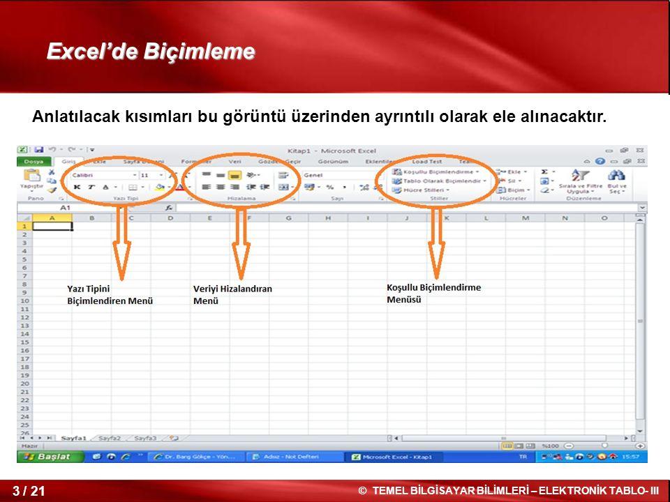 3 / 21 © TEMEL BİLGİSAYAR BİLİMLERİ – ELEKTRONİK TABLO- III Excel'de Biçimleme Anlatılacak kısımları bu görüntü üzerinden ayrıntılı olarak ele alınaca