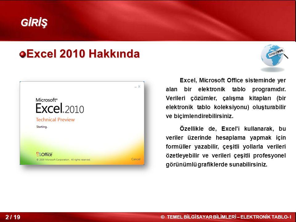 2 / 19 © TEMEL BİLGİSAYAR BİLİMLERİ – ELEKTRONİK TABLO- I Excel 2010 Hakkında Excel, Microsoft Office sisteminde yer alan bir elektronik tablo programıdır.