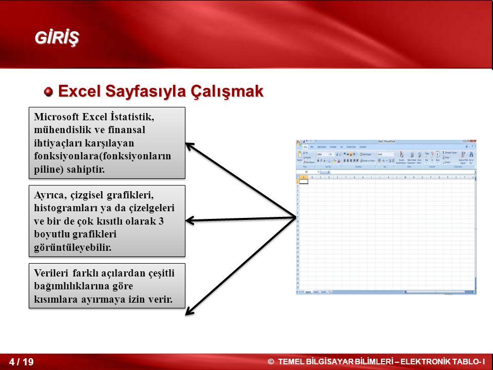 4 / 19 © TEMEL BİLGİSAYAR BİLİMLERİ – ELEKTRONİK TABLO- I Excel Sayfasıyla Çalışmak Excel Sayfasıyla Çalışmak GİRİŞ Microsoft Excel İstatistik, mühendislik ve finansal ihtiyaçları karşılayan fonksiyonlara(fonksiyonların piline) sahiptir.