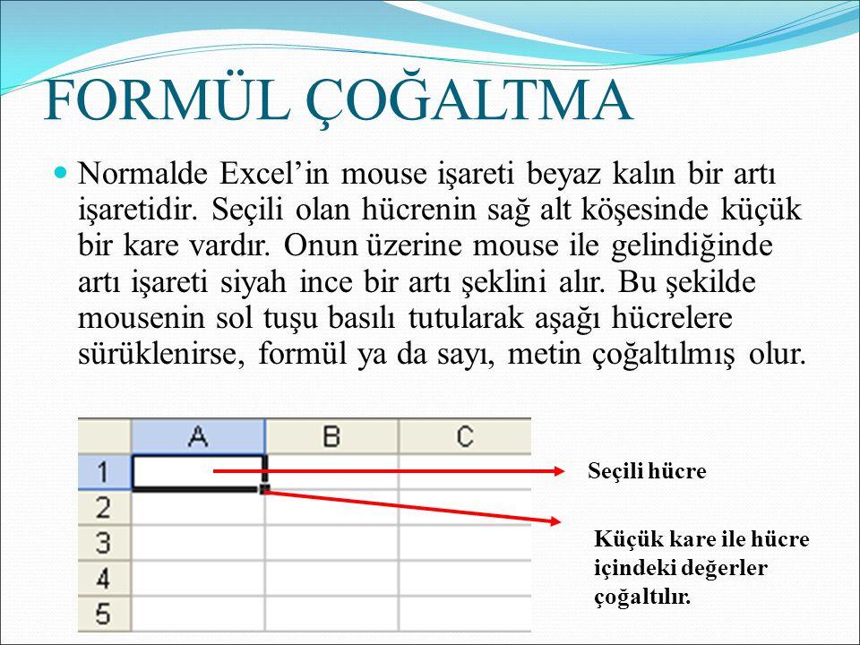 FORMÜL ÇOĞALTMA Normalde Excel'in mouse işareti beyaz kalın bir artı işaretidir.