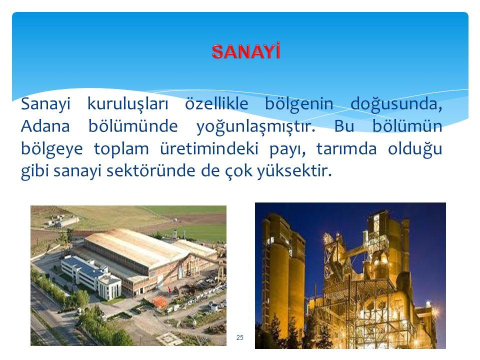 Sanayi kuruluşları özellikle bölgenin doğusunda, Adana bölümünde yoğunlaşmıştır. Bu bölümün bölgeye toplam üretimindeki payı, tarımda olduğu gibi sana