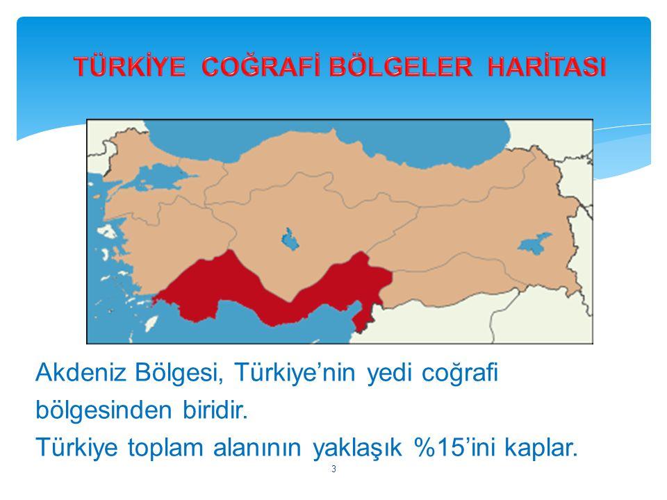 Akdeniz Bölgesi, Türkiye'nin yedi coğrafi bölgesinden biridir. Türkiye toplam alanının yaklaşık %15'ini kaplar. 3