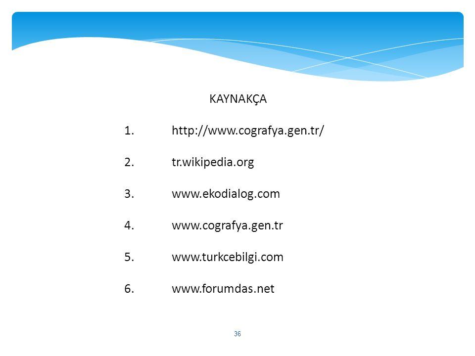 KAYNAKÇA 1.http://www.cografya.gen.tr/ 2.tr.wikipedia.org 3.www.ekodialog.com 4.www.cografya.gen.tr 5.www.turkcebilgi.com 6.www.forumdas.net 36
