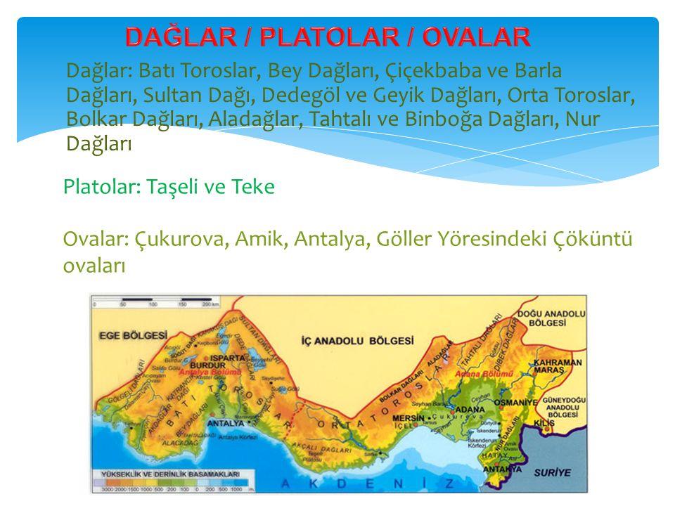 Dağlar: Batı Toroslar, Bey Dağları, Çiçekbaba ve Barla Dağları, Sultan Dağı, Dedegöl ve Geyik Dağları, Orta Toroslar, Bolkar Dağları, Aladağlar, Tahta
