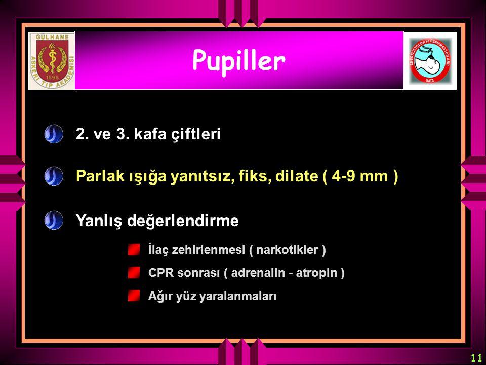 11 Pupiller 2. ve 3. kafa çiftleri Parlak ışığa yanıtsız, fiks, dilate ( 4-9 mm ) Yanlış değerlendirme İlaç zehirlenmesi ( narkotikler ) CPR sonrası (