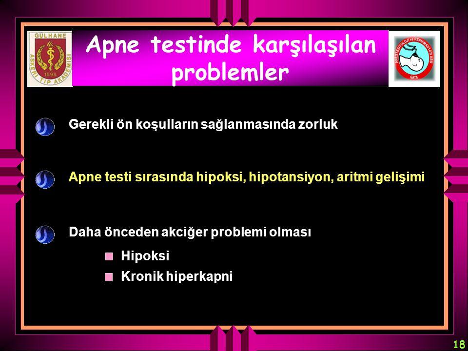 18 Apne testinde karşılaşılan problemler Gerekli ön koşulların sağlanmasında zorluk Apne testi sırasında hipoksi, hipotansiyon, aritmi gelişimi Daha ö