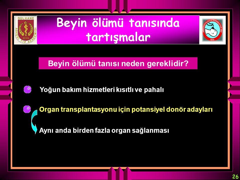 26 Beyin ölümü tanısında tartışmalar Beyin ölümü tanısı neden gereklidir? Yoğun bakım hizmetleri kısıtlı ve pahalı Organ transplantasyonu için potansi