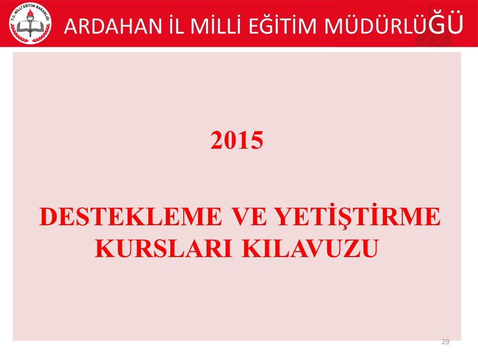 ARDAHAN İL MİLLİ EĞİTİM MÜDÜRLÜ ĞÜ 2015 DESTEKLEME VE YETİŞTİRME KURSLARI KILAVUZU 29