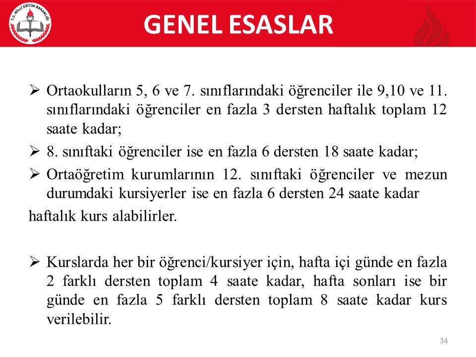 GENEL ESASLAR  Ortaokulların 5, 6 ve 7. sınıflarındaki öğrenciler ile 9,10 ve 11.