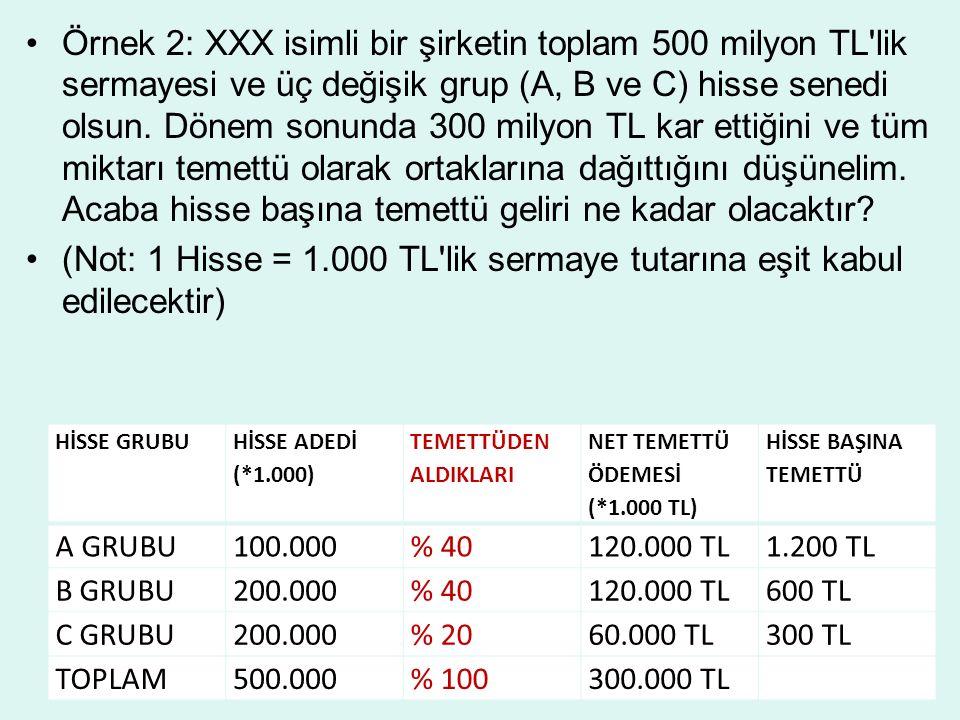Örnek 2: XXX isimli bir şirketin toplam 500 milyon TL lik sermayesi ve üç değişik grup (A, B ve C) hisse senedi olsun.