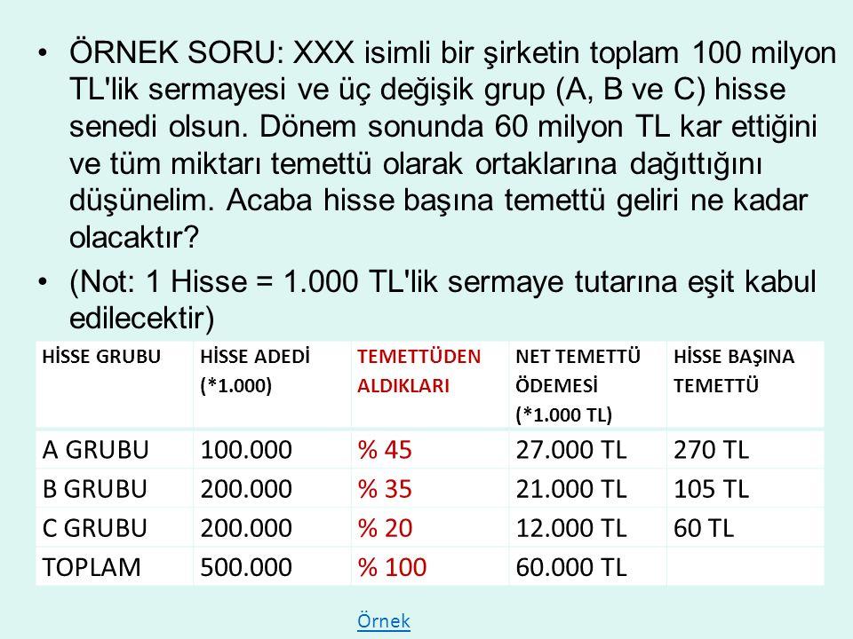 ÖRNEK SORU: XXX isimli bir şirketin toplam 100 milyon TL lik sermayesi ve üç değişik grup (A, B ve C) hisse senedi olsun.
