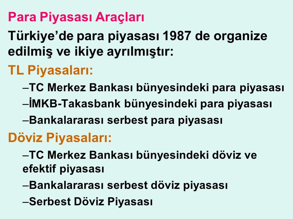 Para Piyasası Araçları Türkiye'de para piyasası 1987 de organize edilmiş ve ikiye ayrılmıştır: TL Piyasaları: –TC Merkez Bankası bünyesindeki para piyasası –İMKB-Takasbank bünyesindeki para piyasası –Bankalararası serbest para piyasası Döviz Piyasaları: –TC Merkez Bankası bünyesindeki döviz ve efektif piyasası –Bankalararası serbest döviz piyasası –Serbest Döviz Piyasası