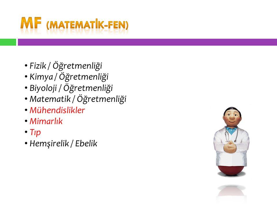 Fizik / Öğretmenliği Kimya / Öğretmenliği Biyoloji / Öğretmenliği Matematik / Öğretmenliği Mühendislikler Mimarlık Tıp Hemşirelik / Ebelik
