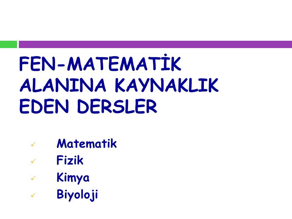 FEN-MATEMATİK ALANINA KAYNAKLIK EDEN DERSLER Matematik Fizik Kimya Biyoloji