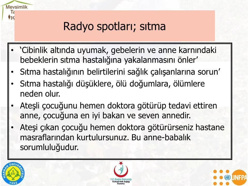 Radyo spotları; sıtma 'Cibinlik altında uyumak, gebelerin ve anne karnındaki bebeklerin sıtma hastalığına yakalanmasını önler' Sıtma hastalığının belirtilerini sağlık çalışanlarına sorun' Sıtma hastalığı düşüklere, ölü doğumlara, ölümlere neden olur.