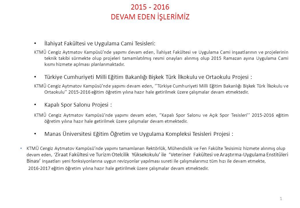2015 - 2016 DEVAM EDEN İŞLERİMİZ 1 İlahiyat Fakültesi ve Uygulama Cami Tesisleri: KTMÜ Cengiz Aytmatov Kampüsü'nde yapımı devam eden, İlahiyat Fakülte