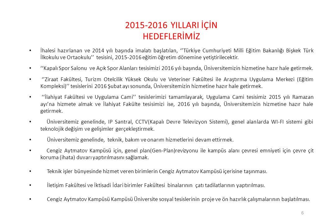 6 2015-2016 YILLARI İÇİN HEDEFLERİMİZ İhalesi hazırlanan ve 2014 yılı başında imalatı başlatılan, ''Türkiye Cumhuriyeti Milli Eğitim Bakanlığı Bişkek