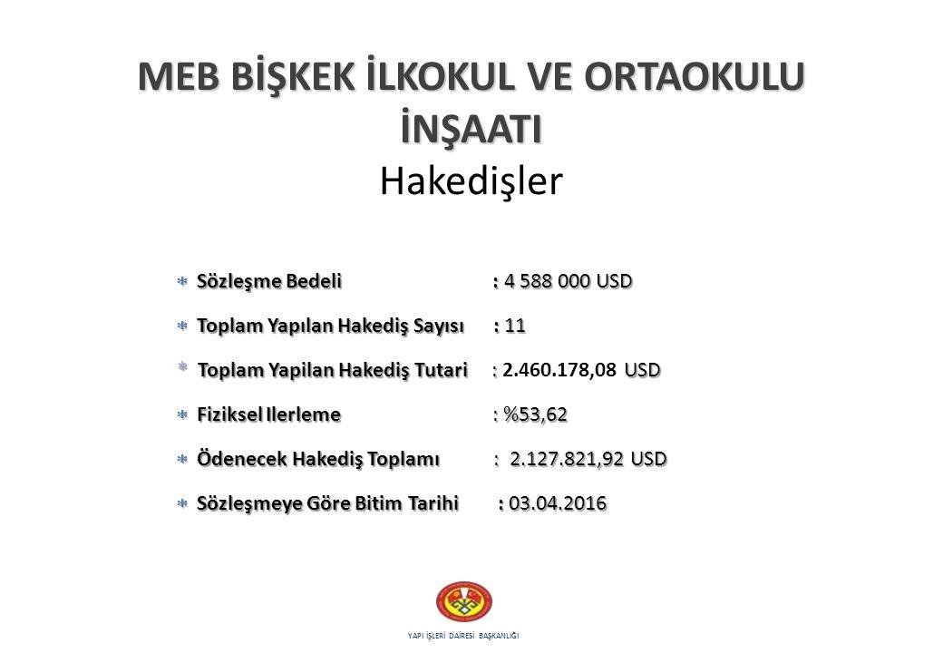 6 2015-2016 YILLARI İÇİN HEDEFLERİMİZ İhalesi hazırlanan ve 2014 yılı başında imalatı başlatılan, ''Türkiye Cumhuriyeti Milli Eğitim Bakanlığı Bişkek Türk İlkokulu ve Ortaokulu'' tesisini, 2015-2016 eğitim öğretim dönemine yetiştirilecektir.