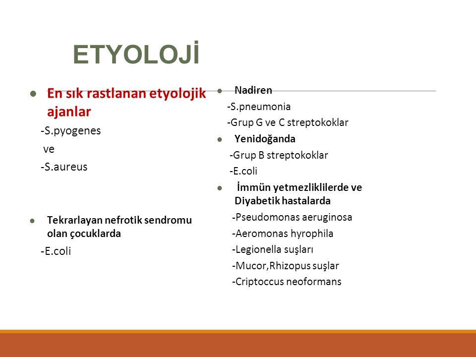 ETYOLOJİ En sık rastlanan etyolojik ajanlar -S.pyogenes ve -S.aureus Tekrarlayan nefrotik sendromu olan çocuklarda -E.coli Nadiren -S.pneumonia -Grup G ve C streptokoklar Yenidoğanda -Grup B streptokoklar -E.coli İmmün yetmezliklilerde ve Diyabetik hastalarda -Pseudomonas aeruginosa -Aeromonas hyrophila -Legionella suşları -Mucor,Rhizopus suşlar -Criptoccus neoformans