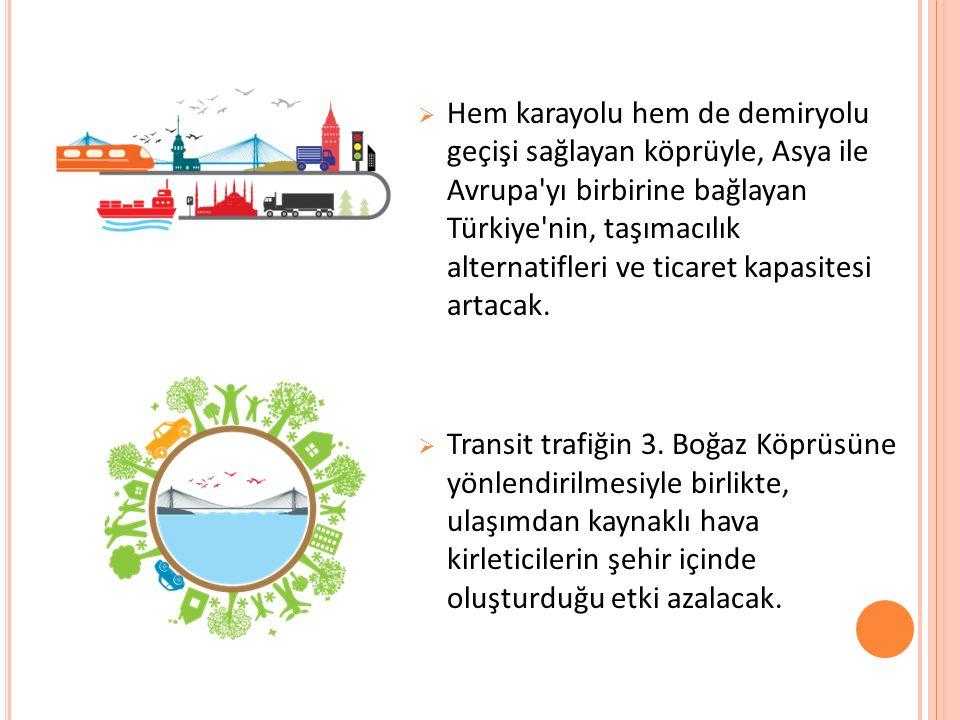  Hem karayolu hem de demiryolu geçişi sağlayan köprüyle, Asya ile Avrupa yı birbirine bağlayan Türkiye nin, taşımacılık alternatifleri ve ticaret kapasitesi artacak.