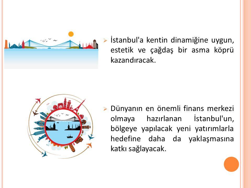  İstanbul a kentin dinamiğine uygun, estetik ve çağdaş bir asma köprü kazandıracak.