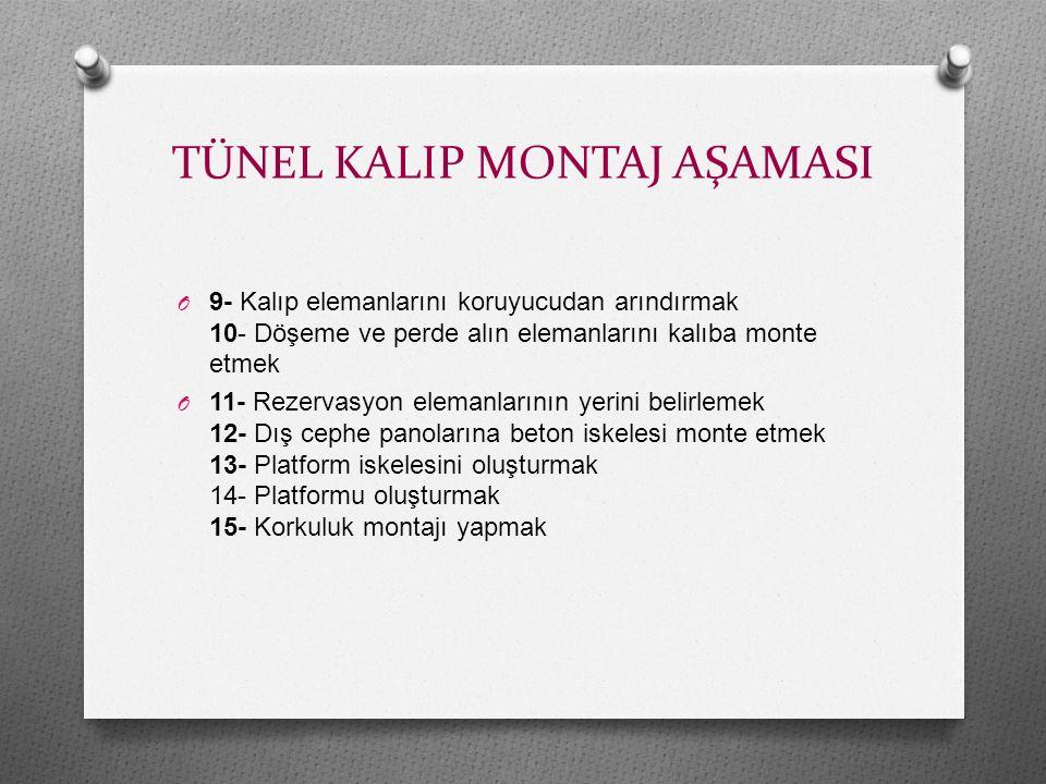 TÜNEL KALIP MONTAJ AŞAMASI O 9- Kalıp elemanlarını koruyucudan arındırmak 10- Döşeme ve perde alın elemanlarını kalıba monte etmek O 11- Rezervasyon elemanlarının yerini belirlemek 12- Dış cephe panolarına beton iskelesi monte etmek 13- Platform iskelesini oluşturmak 14- Platformu oluşturmak 15- Korkuluk montajı yapmak