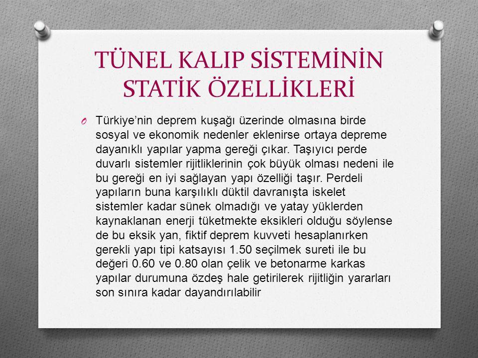 TÜNEL KALIP SİSTEMİNİN STATİK ÖZELLİKLERİ O Türkiye'nin deprem kuşağı üzerinde olmasına birde sosyal ve ekonomik nedenler eklenirse ortaya depreme dayanıklı yapılar yapma gereği çıkar.