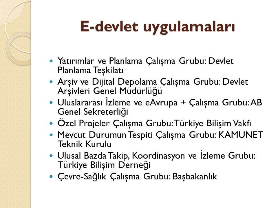 E-devlet uygulamaları Ancak siyasi ve ekonomik istikrarsızlık nedeniyle Eylem Planının uygulanması mümkün olmamış ve e- Türkiye Girişimi, e-Dönüşüm Türkiye Projesinin başlatılmasıyla son bulmuştur.