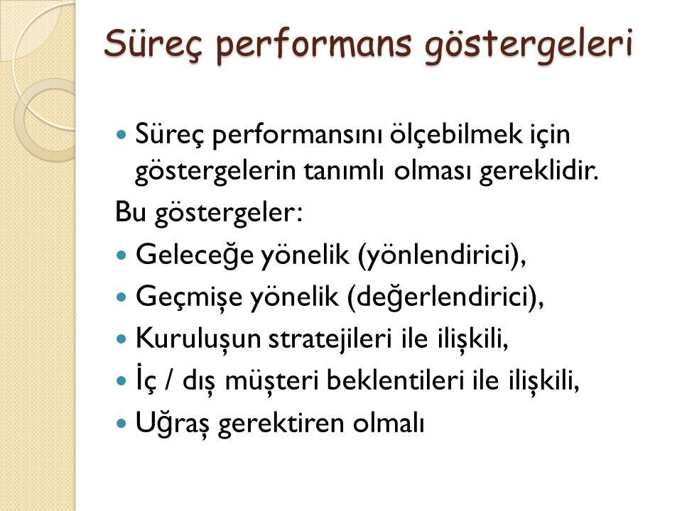 Süreç performansını ölçebilmek için göstergelerin tanımlı olması gereklidir. Bu göstergeler: Gelece ğ e yönelik (yönlendirici), Geçmişe yönelik (de ğ