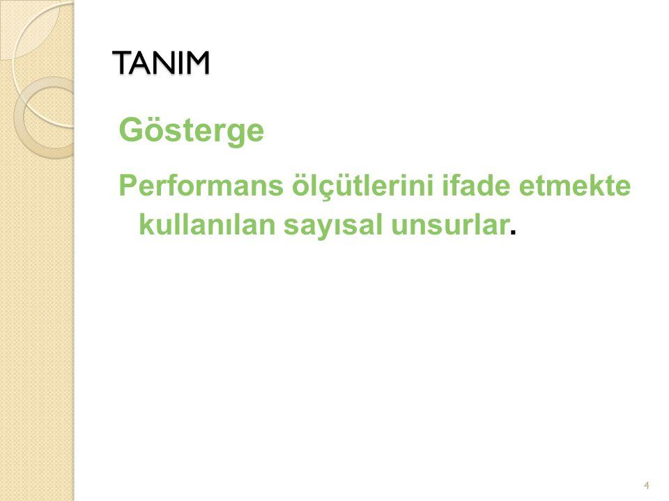 4 TANIM Gösterge Performans ölçütlerini ifade etmekte kullanılan sayısal unsurlar.