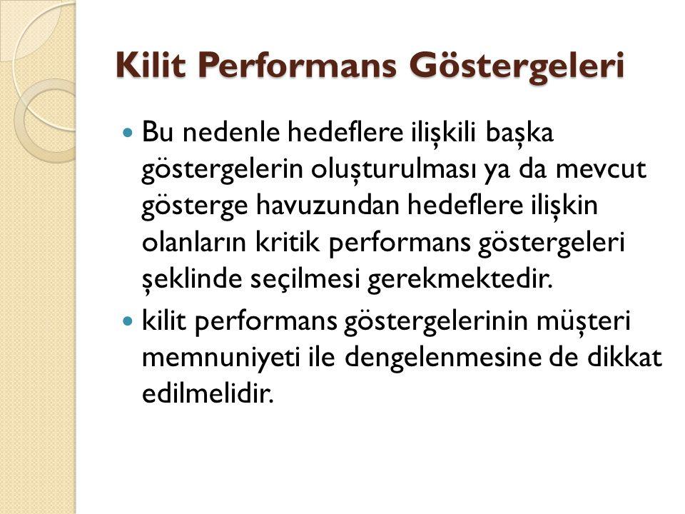 Kilit Performans Göstergeleri Bu nedenle hedeflere ilişkili başka göstergelerin oluşturulması ya da mevcut gösterge havuzundan hedeflere ilişkin olanl