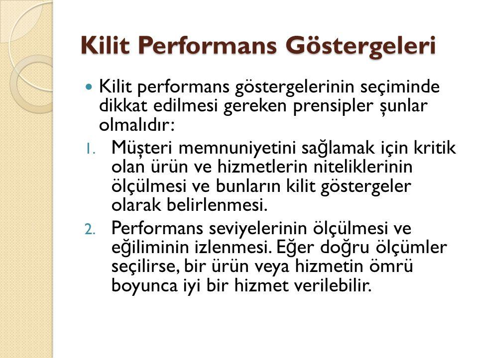 Kilit Performans Göstergeleri Kilit performans göstergelerinin seçiminde dikkat edilmesi gereken prensipler şunlar olmalıdır: 1. Müşteri memnuniyetini