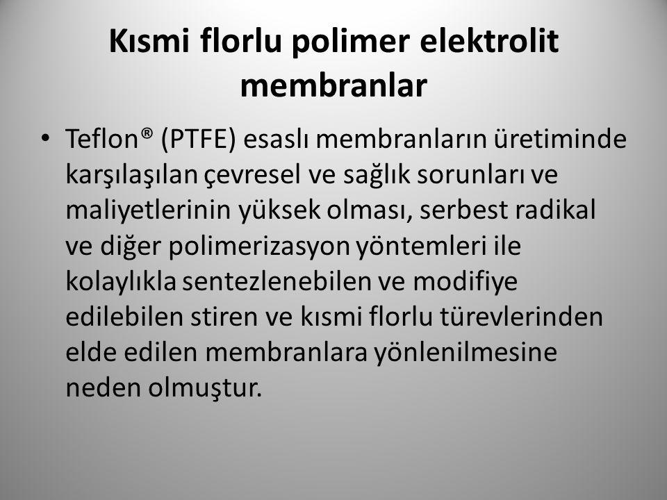 Kısmi florlu polimer elektrolit membranlar Teflon® (PTFE) esaslı membranların üretiminde karşılaşılan çevresel ve sağlık sorunları ve maliyetlerinin y