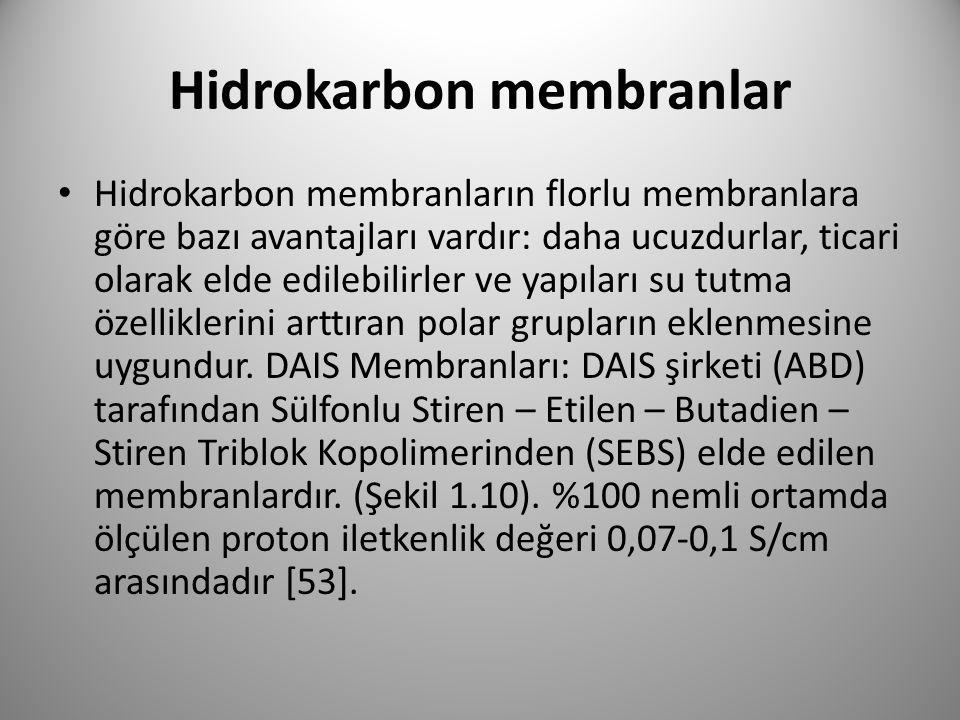 Hidrokarbon membranlar Hidrokarbon membranların florlu membranlara göre bazı avantajları vardır: daha ucuzdurlar, ticari olarak elde edilebilirler ve