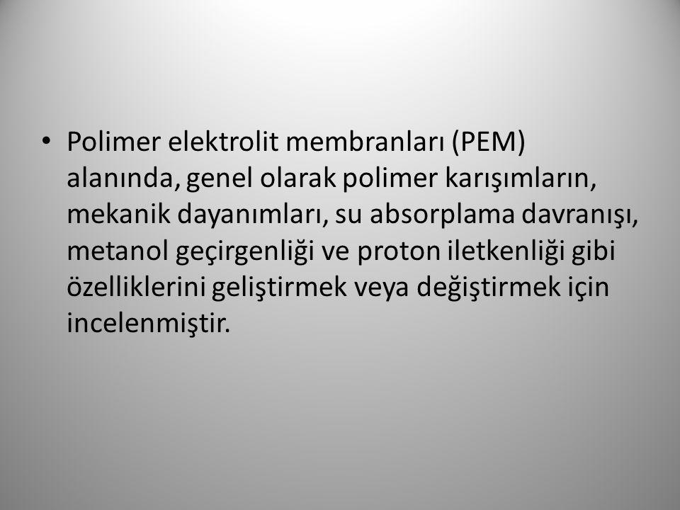 Polimer elektrolit membranları (PEM) alanında, genel olarak polimer karışımların, mekanik dayanımları, su absorplama davranışı, metanol geçirgenliği v
