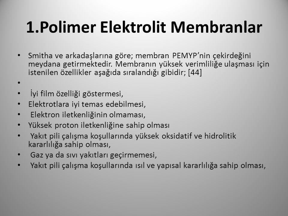 1.Polimer Elektrolit Membranlar Smitha ve arkadaşlarına göre; membran PEMYP'nin çekirdeğini meydana getirmektedir. Membranın yüksek verimliliğe ulaşma