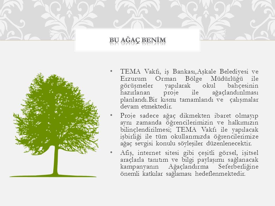 TEMA Vakfı, iş Bankası,Aşkale Belediyesi ve Erzurum Orman Bölge Müdürlüğü ile görüşmeler yapılarak okul bahçesinin hazırlanan proje ile ağaçlandırılması planlandı.Bir kısmı tamamlandı ve çalışmalar devam etmektedir.